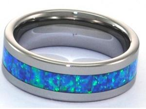 6mm Precious Opal Tungsten Carbide Ring with Blue and Slight Green Inlays that flash with fire