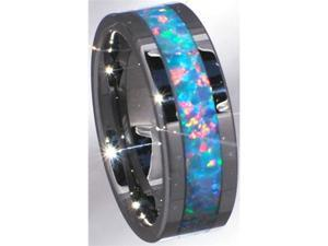 Precious Opal Tungsten Carbide Ring with Red/Green Inlays