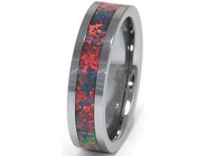 6mm Precious Opal Tungsten Ring with a Brilliant Display Multi Color Fire
