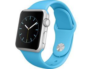 Apple - Apple Watch™ Sport 38mm Silver Aluminum Case - Blue Sport Band