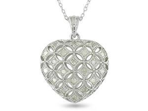 1/2 CT Diamond TW Heart Pendant With Chain Silver I3