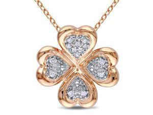 Sterling Silver 1/10 ct Diamond Clover Pendant w/ Chain