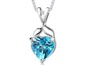 Oravo SP1954 3.00 CTW Heart Shaped Swiss Blue Topaz Pendant in Sterling Silver