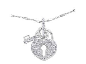 "JA-ME Swarovski Crystal Heart Pendant with Key and 16""+ Design Chain in Rhodium Plated."