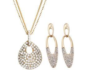 "JA-ME 15""+ Swarovski Crystal Double Chains with Wave Design Pendant and Oval Pierced Earrings"