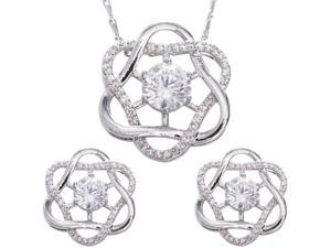 "JA-ME 2ct / 8mm H&A CZ Design Pendant with 18""+ Design Chain and 0.5ct / 5mm H&A CZ Matching Pierced Earrings in Rhodium Plated."