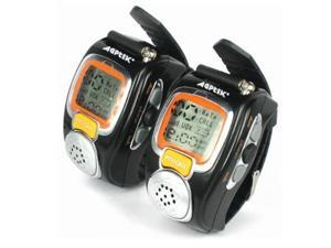 AGPtek MT1 2-Way Wrist Watch Walkie Talkie (Pair ) - Black/Orange