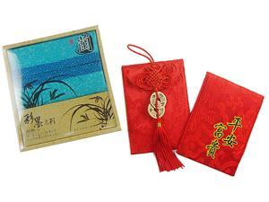 Multifunction Red Envelope with Embroidery & Tissue Pouch with Chinese Orchid design