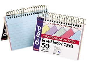 Esselte Pendaflex 40285 Spiral Index Cards, 3 x 5, Blue/Violet/Canary/Green/Cherry, 50/Pack