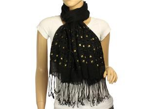 Linen Fashion Hand Embroidered Flowers & Rivets Long Scarf Shawl(Black)-Various colors