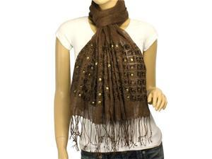 Linen Fashion Hand Embroidered Flowers & Rivets Long Scarf Shawl(Brown)-Various colors