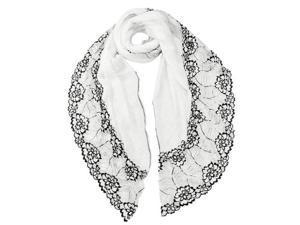 Dahlia Lace Flower Acrylic Long Scarf - White