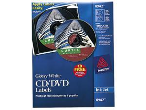 Avery 8942 CD/DVD Glossy Labels for Inkjet Printers  Clear  20 Labels Pack