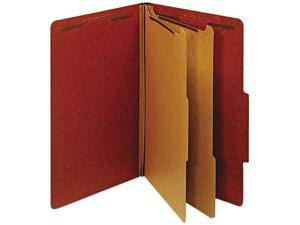 Globe-Weis 29075 Pressboard Classification Folders- 6 Fasteners- 2/5 Cut- Legal- Red- 10/Box