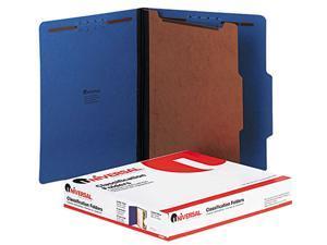 Universal 10201 Pressboard Classification Folders  Ltr  4-Section  Cobalt BE  10/bx