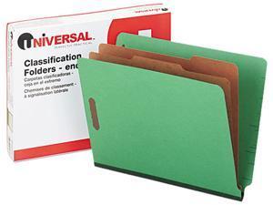 Universal 10317 Pressboard End Tab Folders  Letter  6-Section  Green  10/box