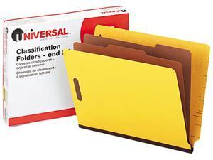 Universal 10319 Pressboard End Tab Classification Folders  Ltr  6-Section  YW  10/box