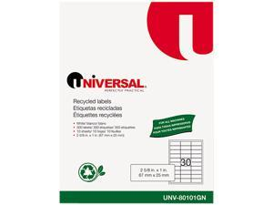 Universal 80101GN Laser Printer Permanent Labels  Recycled  2-5/8 x 1  White  300 per Pack