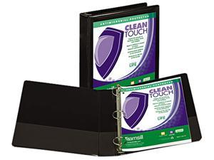"Samsill 18250 Clean Touch Locking Round Ring View Binder- 1-1/2"" Capacity- Black"