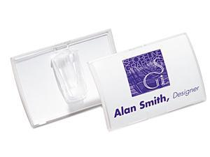 Durable 821319 Click-Fold Convex Name Badge Holder  Slip-On Clip  25 Per Pack