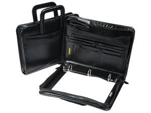 Bond Street 540019BLK Leather Multi-Ring Zippered Portfolio, 1-1/2'' Capacity, 14-1/4 x 10-1/2, Black