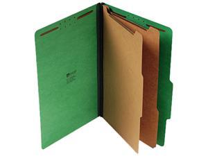 Universal 10312 Pressboard Classification Folders- Legal- 6-Section- Emerald Green- 10/Box