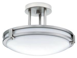 "Lithonia Lighting White 13"" 26 Watt Brushed Nickel Fluorescent Round Ceiling Light Fixture"