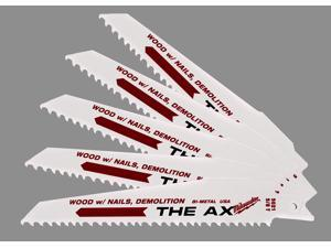 "Milwaukee 48-00-5021 6"" 8 TPI The Ax™ Demolition Sawzall® Reciprocating Blade"