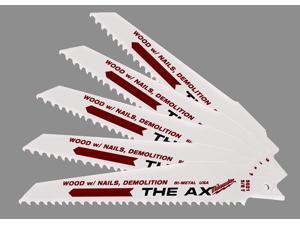 "Milwaukee 48-00-5021 6"" 8 TPI The Ax™ Demolition Sawzall® Reciprocating Blade"