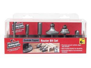 Vermont American 23000 Six Piece Straight Router Bit Set