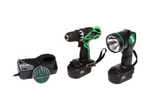 Hitachi Power Tools DS18DVF3 18 Volt Cordless Driver Drill Kit with Flashlight and Bit Set
