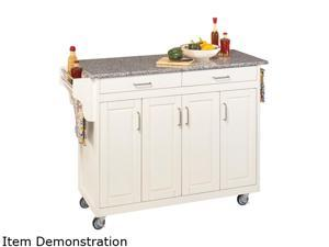 Home Styles 9200-1023 White Kitchen Cart with Gray Granite Top