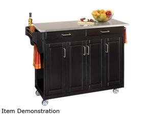 Home Styles 9200-1042 Black Kitchen Cart with Stainless Steel Top