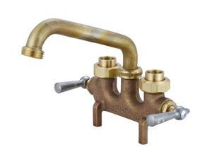 Central Brass 0465 Cast Brass 2-Lever Swivel Laundry Faucet, Rough Brass