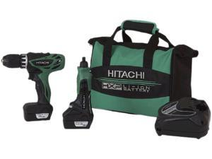 Hitachi KC10DKl 12V Peak Lithium Ion Micro Drive Drill & Mini-Grinder Combo Kit (1.5Ah)