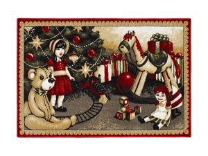 "Shaw Living Holiday Collection Christmas Toys Area Rug Multi 2' 7"" X 3' 10"" 3P17300121XM"