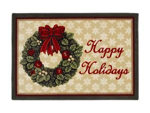 "Shaw Living Holiday Collection Holiday Wreath Area Rug Multi 2' 7"" X 3' 10"" 3P17300122XM"