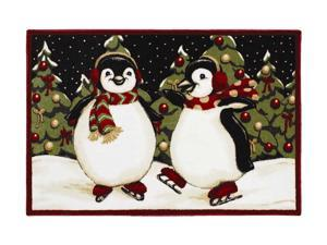 "Shaw Living Holiday Collection Penguins Area Rug Multi 2' 7"" X 3' 10"" 3P17300120XM"