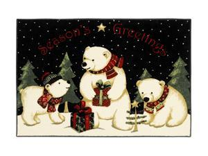 "Shaw Living Holiday Collection Polar Bears Area Rug Multi 2' 7"" X 3' 10"" 3P17300104XM"