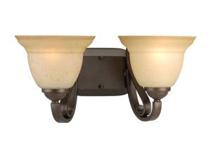 Progress Lighting Forged Bronze 2-Light Bath Bracket with Tea Stain Etched Glass
