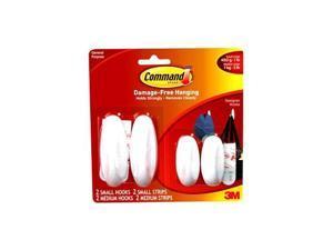 3M Command 17081-2VP Medium Designer Hook Value Pack, White, 2 Med & 2 Small Hooks & Strips