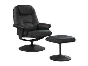 Primo International Total Comfort Black swivel recliner with metal base and ottoman