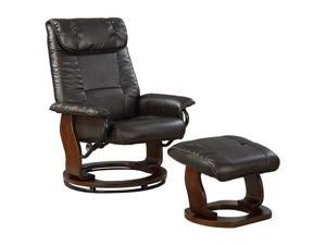 Primo International Total Comfort Mocha Bonded Leather swivel recliner with Bentwood base and ottoman