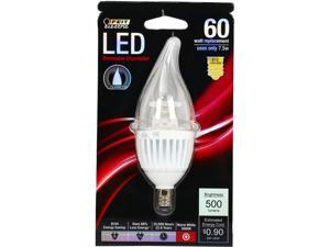 Feit Electric CFC/DM/500/LED 60 Watt Equivalent LED Dimmable Candelabra Base Decorative Bulb