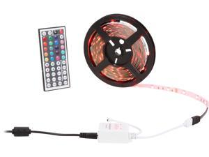 HitLights RGB Multicolor Changing SMD5050 LED Light Strip Kit - 150 LEDs, 16.4 Ft Roll, Cut to Length, Includes 60W Adapter and 44 Key Controller - Color Changing, 149 Lumens per foot
