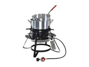 Brinkmann Outdoor Gas Cooker with 10 QT. Pan and Basket Set 815-4010-S Black, Silver