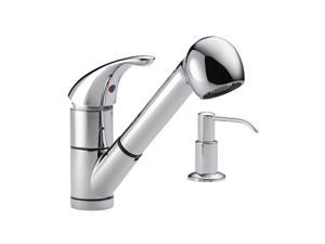 PEERLESS P18550LF-SD Single Handle Kitchen Pull-Out Faucet with Soap Dispenser Chrome