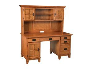 Home Styles 5180-184 Arts & Crafts Pedestal Desk & Hutch Cottage Oak Finish