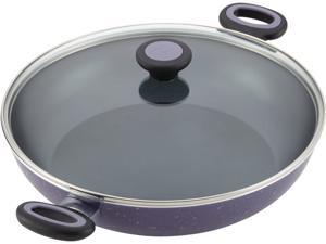 Paula Deen Riverbend Aluminum Nonstick 12-1/2-Inch Covered Chicken Fryer with Side Handles, Lavender Speckle