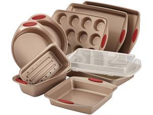 Rachael Ray Cucina Nonstick Bakeware 10-Piece Set in Latte Brown with Handle Grips in Cranberry Red